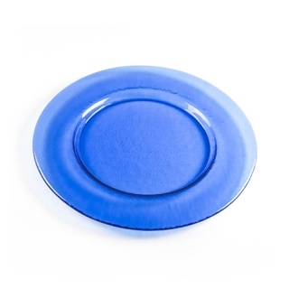 Blue round glass dish