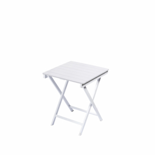White square wooden table