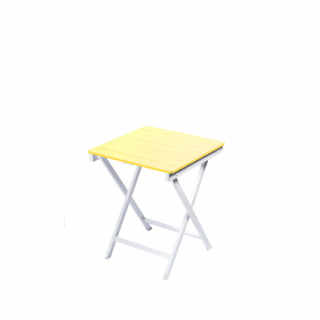 Yellow square wooden table