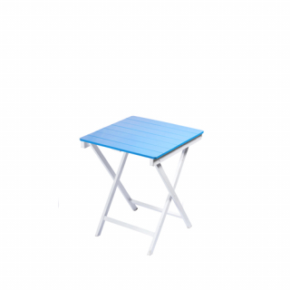 Blue square wooden table