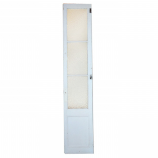 White glass and wood door